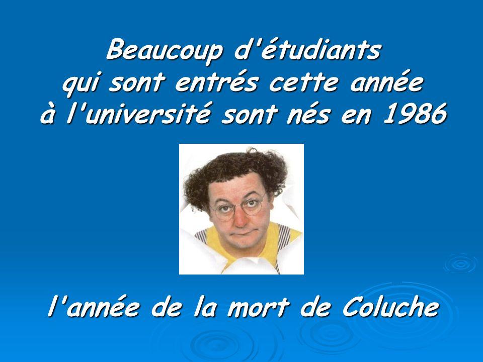 Beaucoup d'étudiants qui sont entrés cette année à l'université sont nés en 1986 l'année de la mort de Coluche