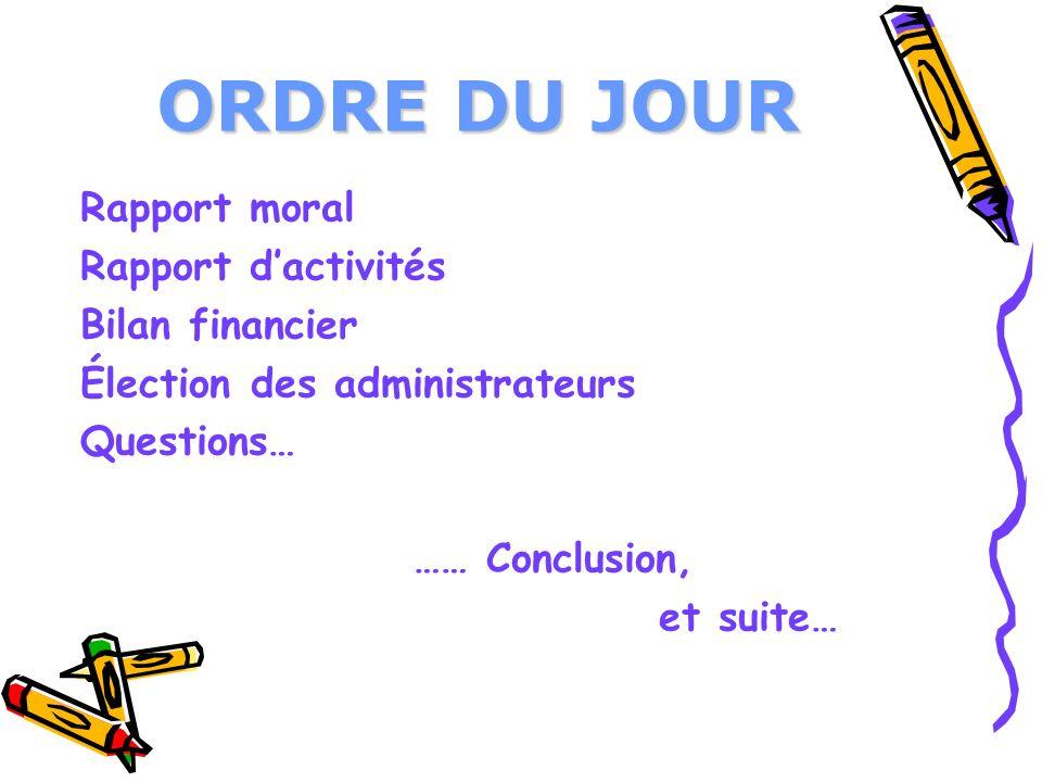 ORDRE DU JOUR Rapport moral Rapport dactivités Bilan financier Élection des administrateurs Questions… …… Conclusion, et suite…