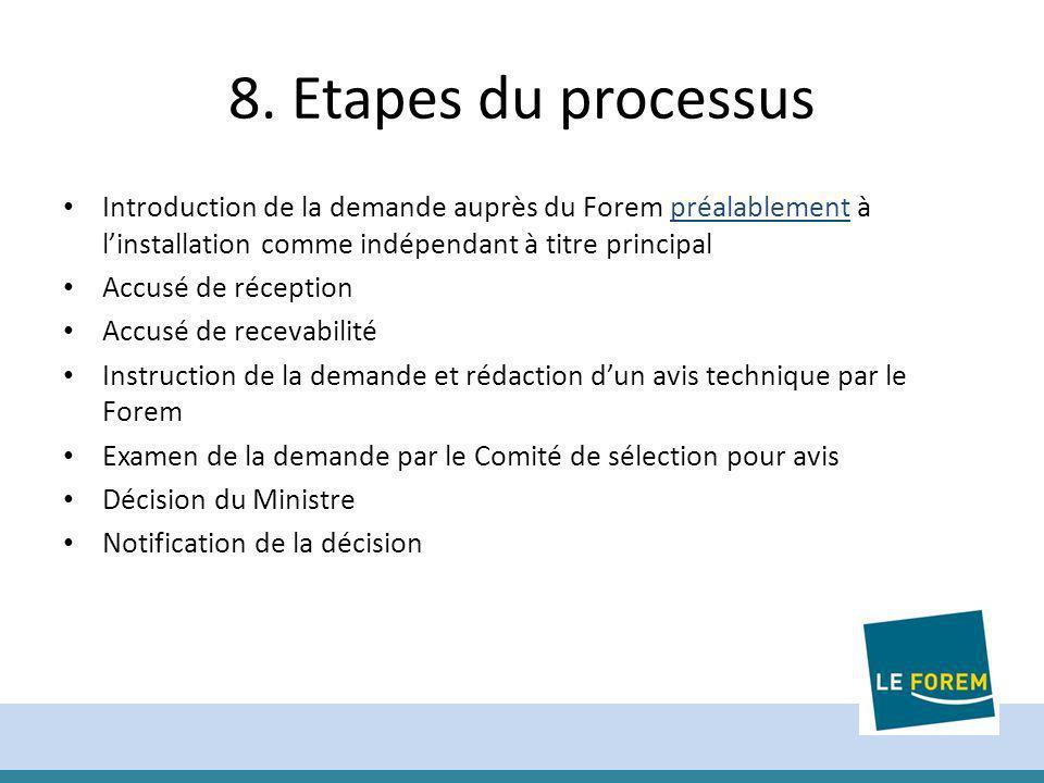 8. Etapes du processus Introduction de la demande auprès du Forem préalablement à linstallation comme indépendant à titre principal Accusé de réceptio