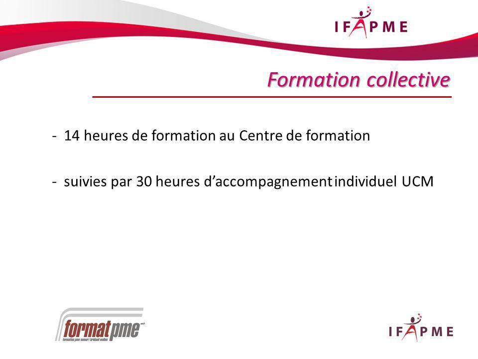 19 Formation collective - 14 heures de formation au Centre de formation - suivies par 30 heures daccompagnement individuel UCM