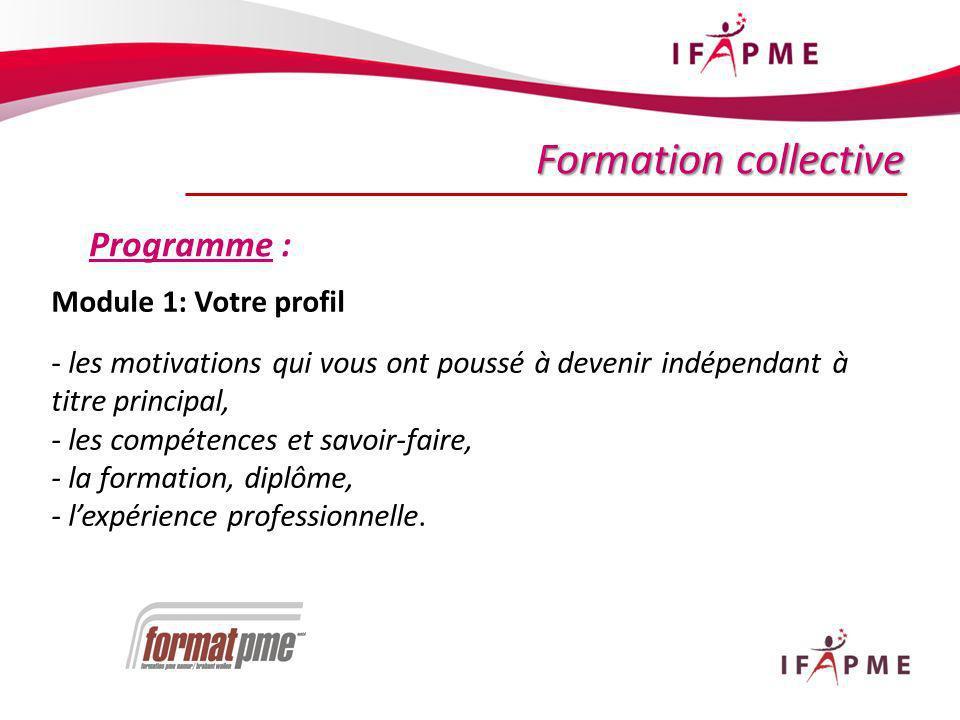 20 Formation collective Programme : Module 1: Votre profil - les motivations qui vous ont poussé à devenir indépendant à titre principal, - les compétences et savoir-faire, - la formation, diplôme, - lexpérience professionnelle.