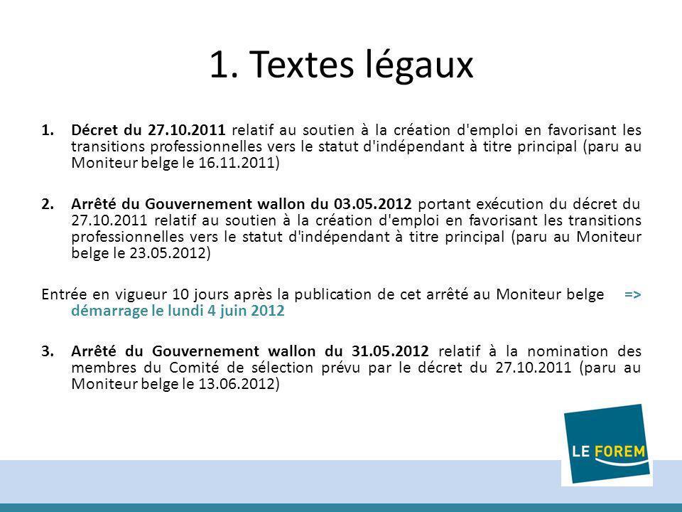 1. Textes légaux 1.Décret du 27.10.2011 relatif au soutien à la création d'emploi en favorisant les transitions professionnelles vers le statut d'indé
