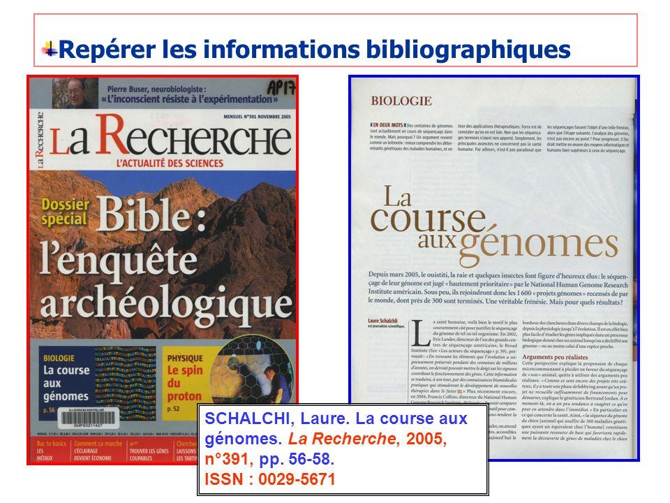 Repérer les informations bibliographiques SCHALCHI, Laure. La course aux génomes. La Recherche, 2005, n°391, pp. 56-58. ISSN : 0029-5671