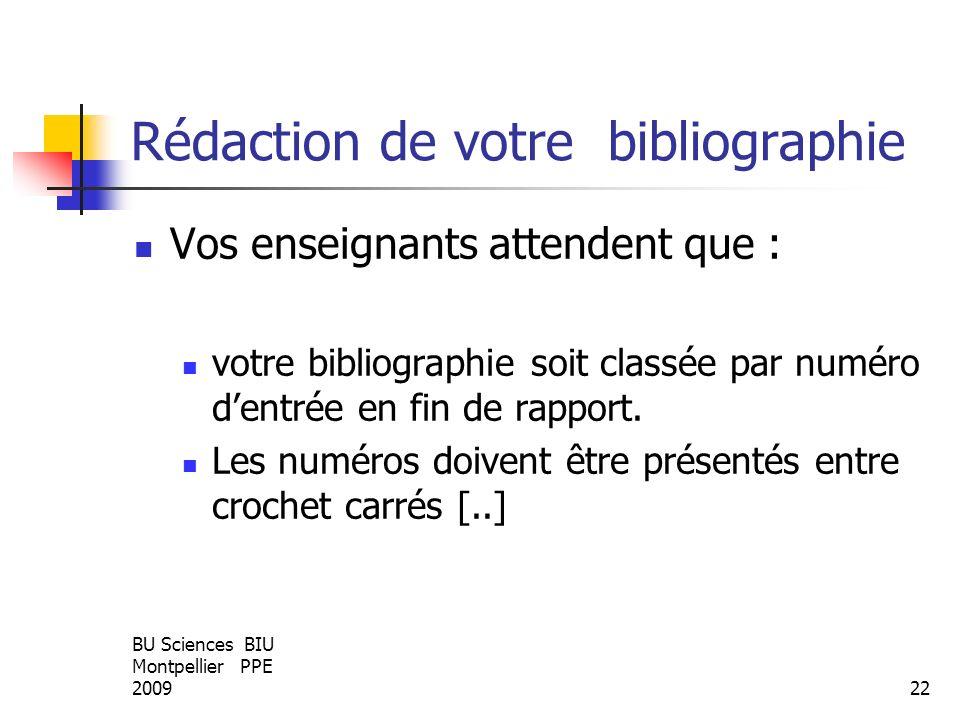 BU Sciences BIU Montpellier PPE 200922 Rédaction de votre bibliographie Vos enseignants attendent que : votre bibliographie soit classée par numéro de