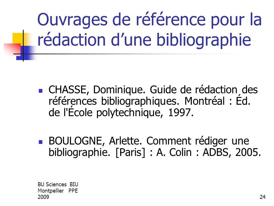 BU Sciences BIU Montpellier PPE 200924 Ouvrages de référence pour la rédaction dune bibliographie CHASSE, Dominique. Guide de rédaction des références