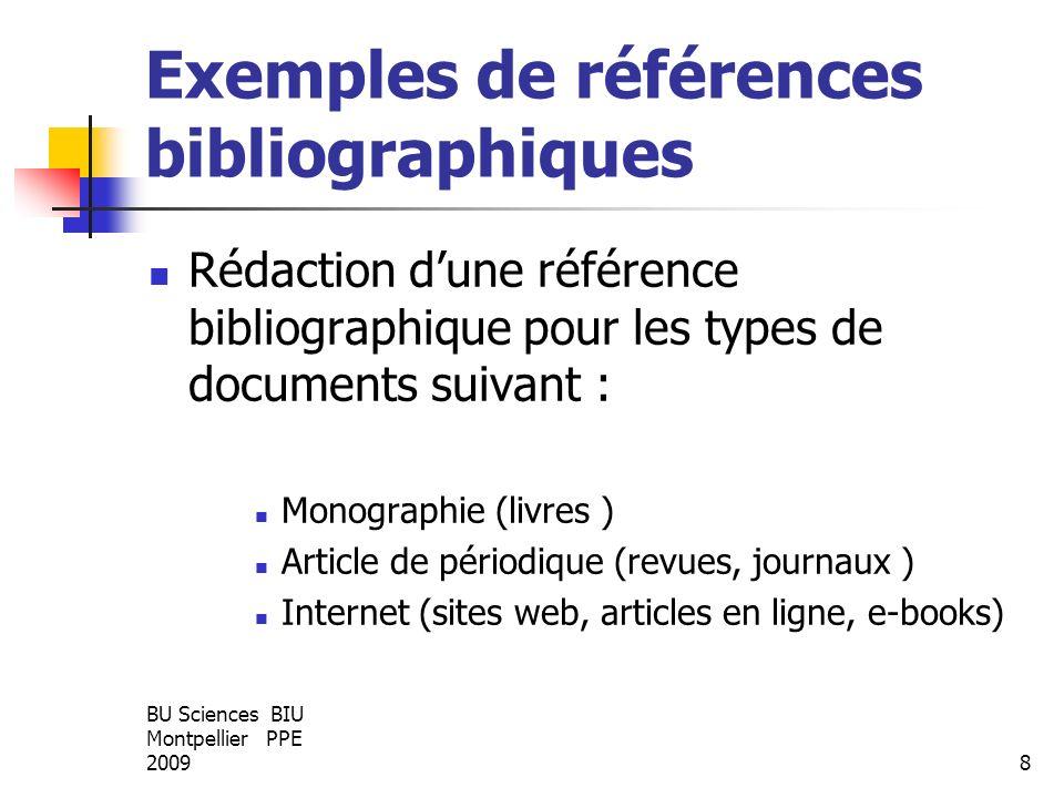BU Sciences BIU Montpellier PPE 20098 Exemples de références bibliographiques Rédaction dune référence bibliographique pour les types de documents sui