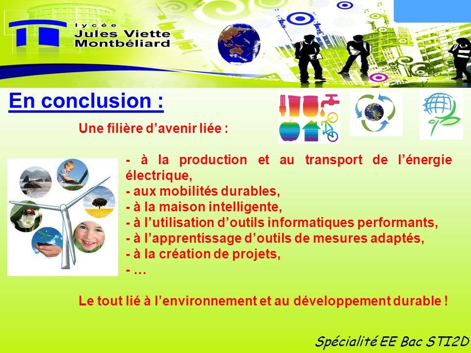 En conclusion : Une filière davenir liée : - à la production et au transport de lénergie électrique, - aux mobilités durables, - à la maison intellige
