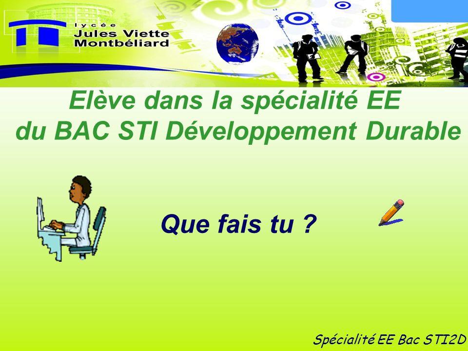 Elève dans la spécialité EE du BAC STI Développement Durable Que fais tu ? Spécialité EE Bac STI2D