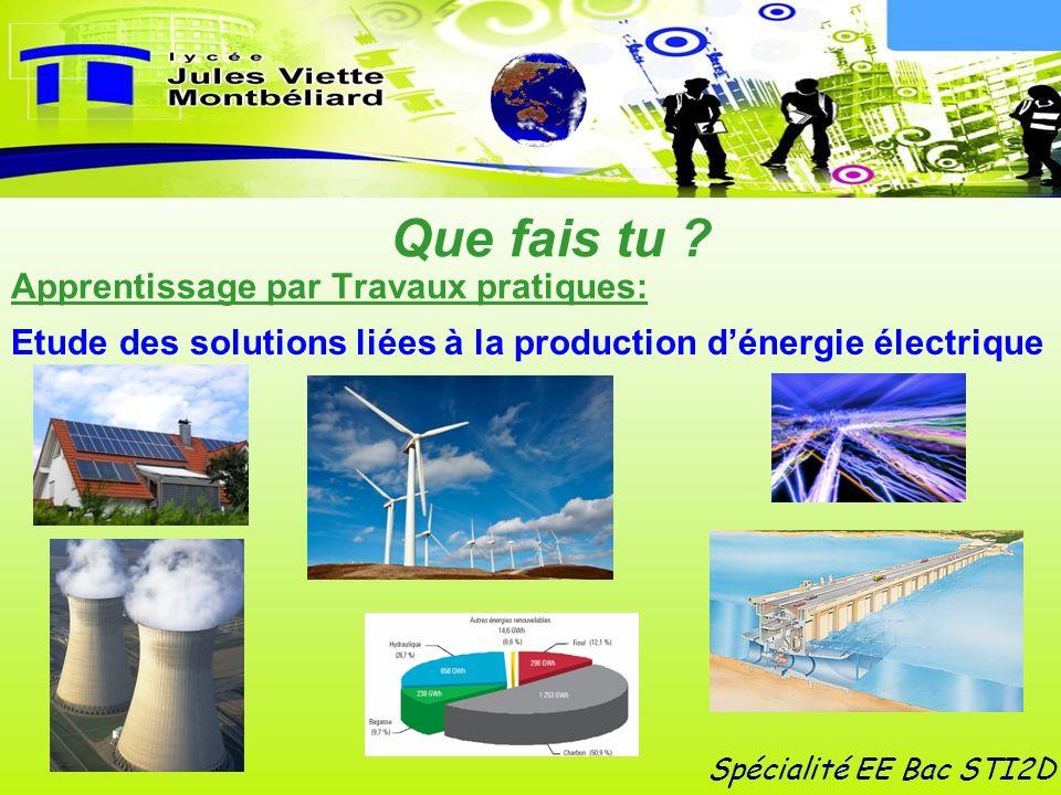 Apprentissage par Travaux pratiques: Spécialité EE Bac STI2D Etude des solutions liées à la production dénergie électrique Que fais tu ?