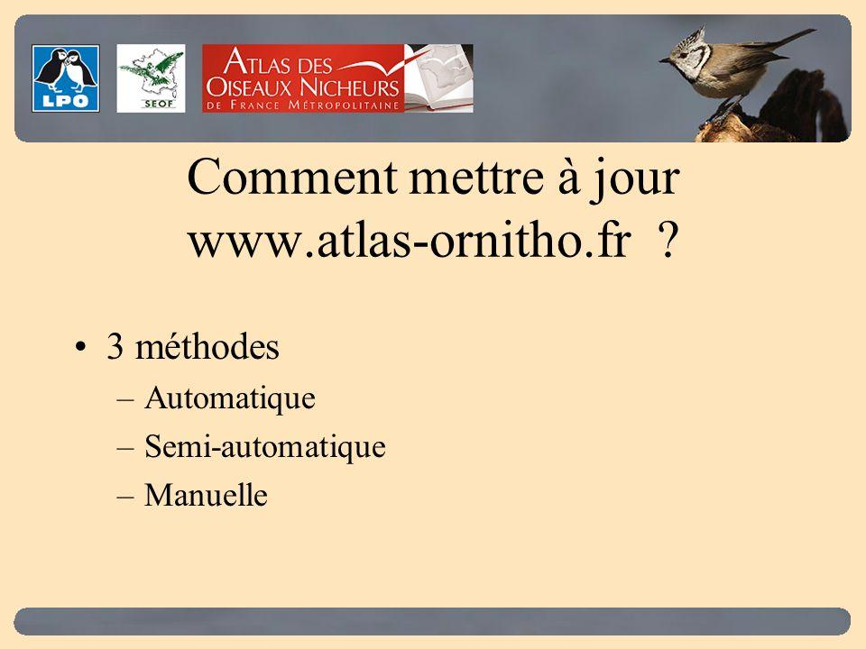 Comment mettre à jour www.atlas-ornitho.fr 3 méthodes –Automatique –Semi-automatique –Manuelle