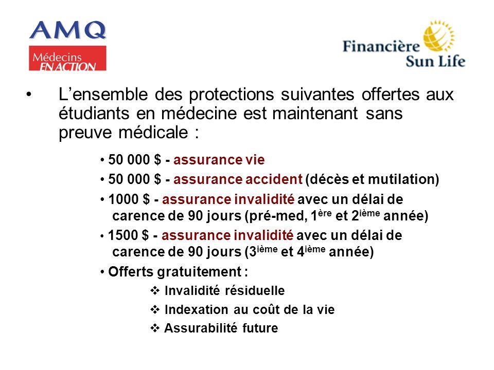 Lensemble des protections suivantes offertes aux étudiants en médecine est maintenant sans preuve médicale : 50 000 $ - assurance vie 50 000 $ - assur