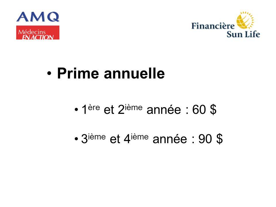 Prime annuelle 1 ère et 2 ième année : 60 $ 3 ième et 4 ième année : 90 $