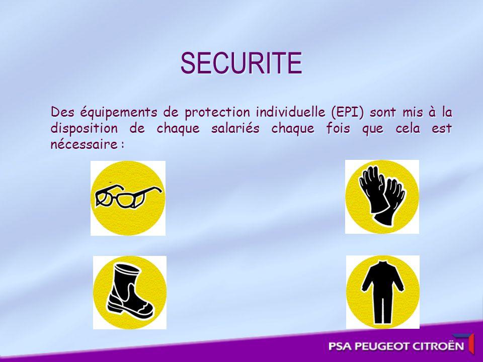 SECURITE Des équipements de protection individuelle (EPI) sont mis à la disposition de chaque salariés chaque fois que cela est nécessaire :