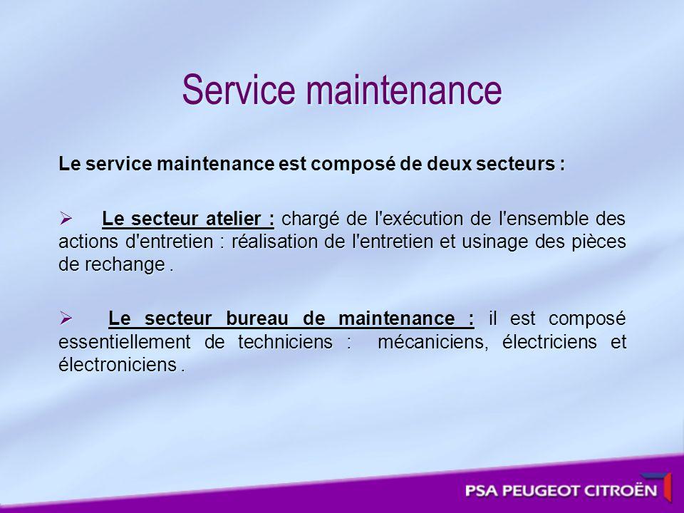 Service maintenance Le service maintenance est composé de deux secteurs : Le secteur atelier : chargé de l'exécution de l'ensemble des actions d'entre