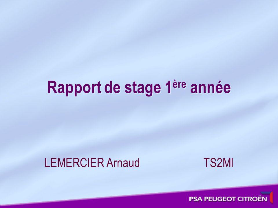 Rapport de stage 1 ère année LEMERCIER Arnaud TS2MI