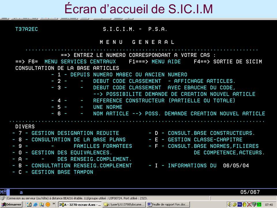Écran daccueil de S.IC.I.M