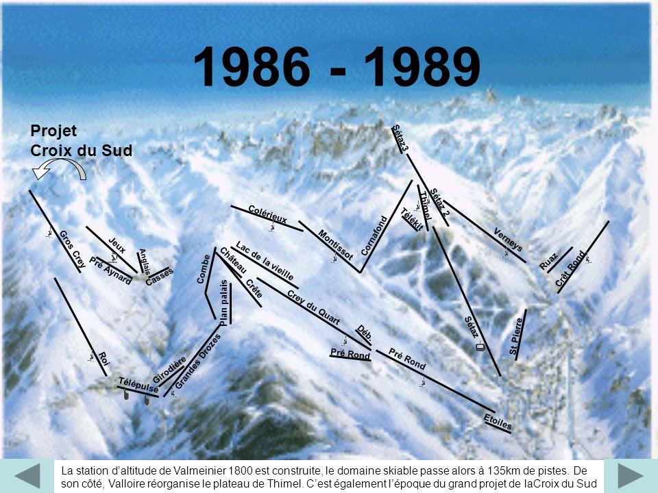 La station daltitude de Valmeinier 1800 est construite, le domaine skiable passe alors à 135km de pistes. De son côté, Valloire réorganise le plateau