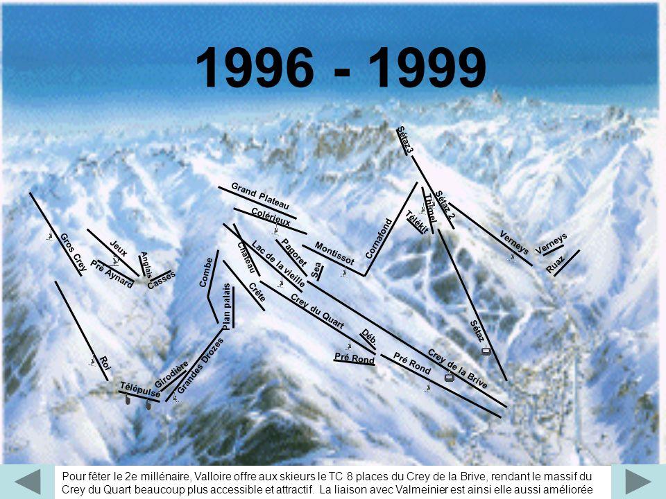Pour fêter le 2e millénaire, Valloire offre aux skieurs le TC 8 places du Crey de la Brive, rendant le massif du Crey du Quart beaucoup plus accessibl
