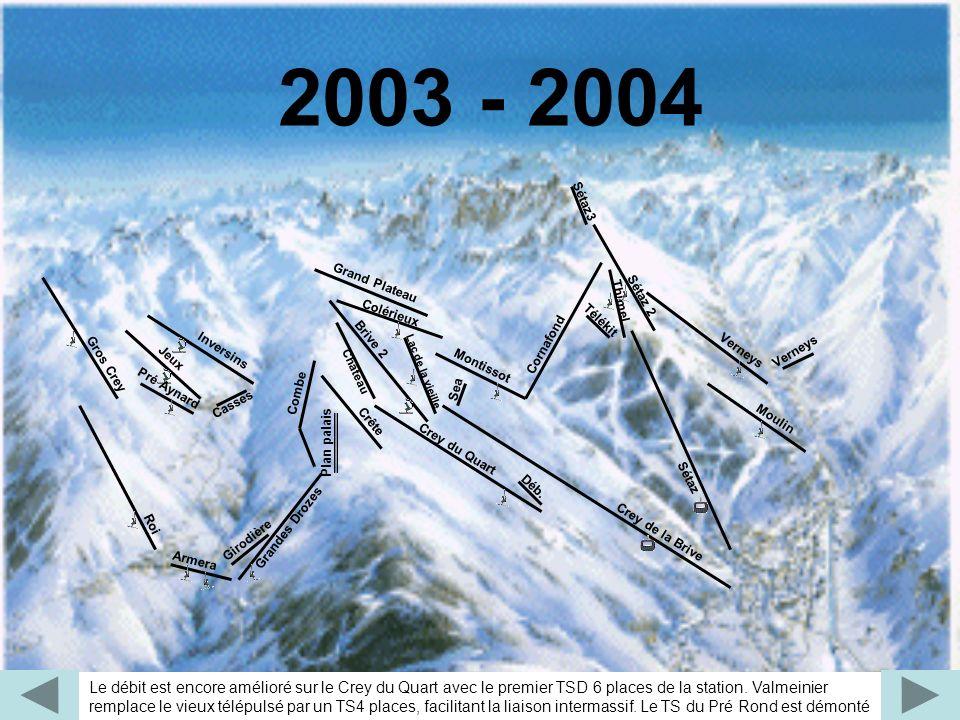 2003 - 2004 Le débit est encore amélioré sur le Crey du Quart avec le premier TSD 6 places de la station. Valmeinier remplace le vieux télépulsé par u
