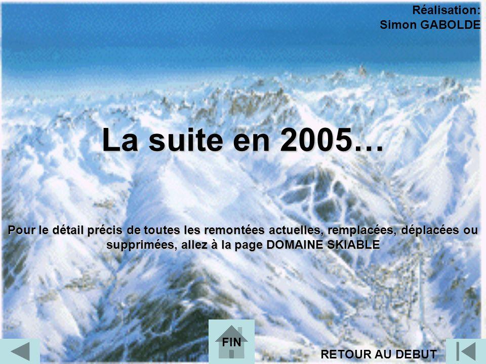 La suite en 2005… Réalisation: Simon GABOLDE RETOUR AU DEBUT FIN Pour le détail précis de toutes les remontées actuelles, remplacées, déplacées ou sup