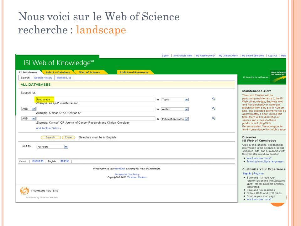 Nous voici sur le Web of Science recherche : landscape