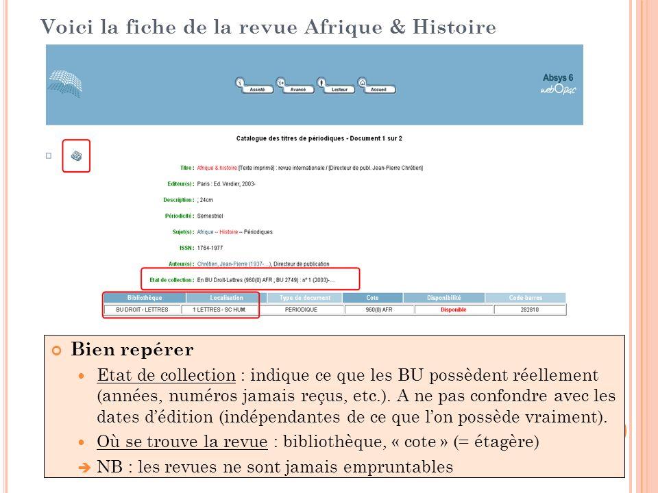 Voici la fiche de la revue Afrique & Histoire Bien repérer Etat de collection : indique ce que les BU possèdent réellement (années, numéros jamais reç