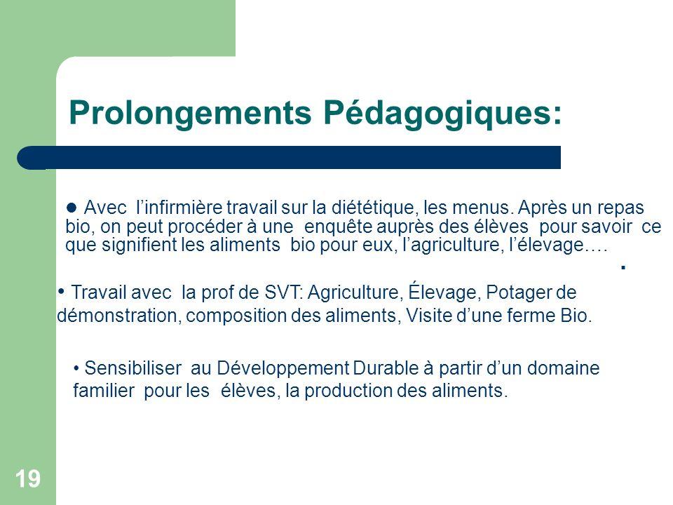19 Prolongements Pédagogiques: Sensibiliser au Développement Durable à partir dun domaine familier pour les élèves, la production des aliments.