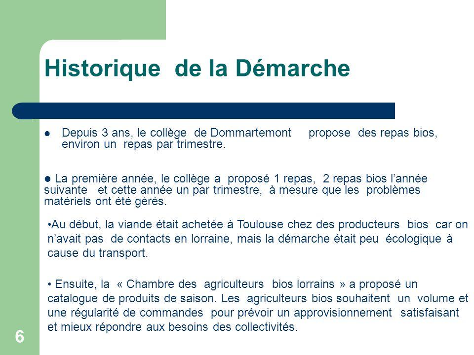 6 Historique de la Démarche Depuis 3 ans, le collège de Dommartemont propose des repas bios, environ un repas par trimestre.