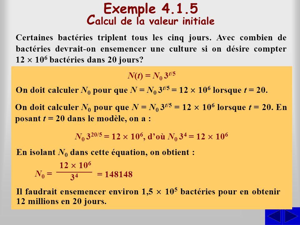 Exemple 4.1.5 C alcul de la valeur initiale Certaines bactéries triplent tous les cinq jours. Avec combien de bactéries devrait-on ensemencer une cult