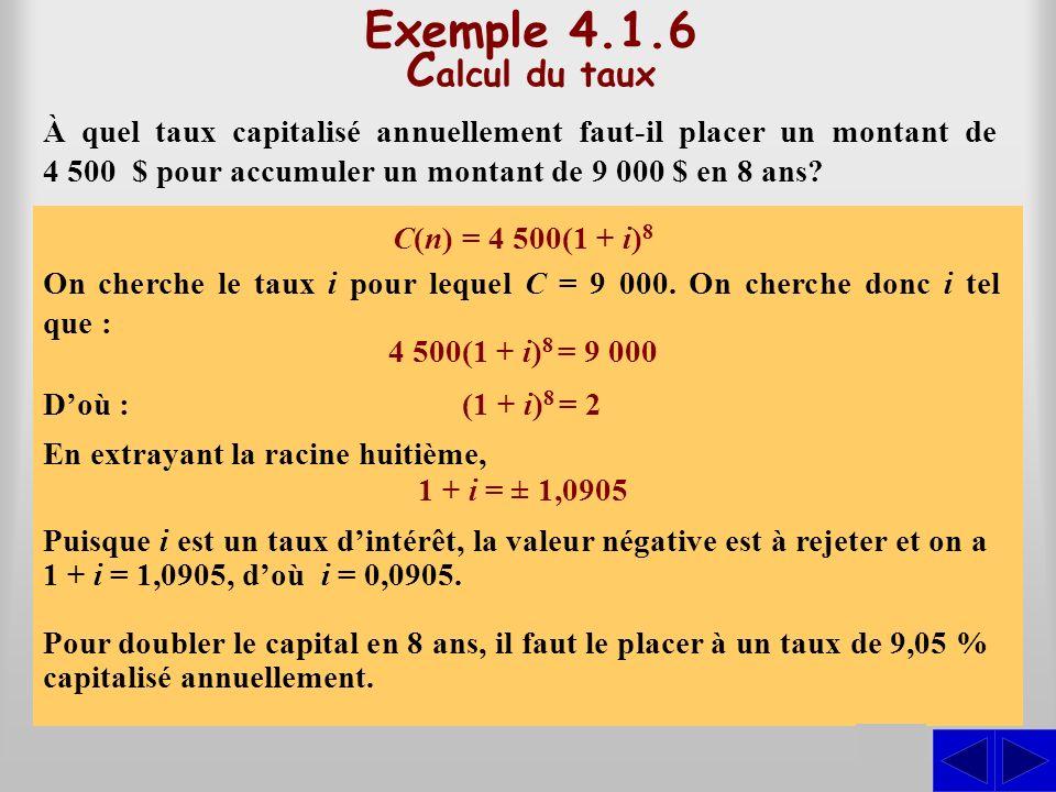 C(n) = 4 500(1 + i) 8 Exemple 4.1.6 C alcul du taux À quel taux capitalisé annuellement faut-il placer un montant de 4 500 $ pour accumuler un montant