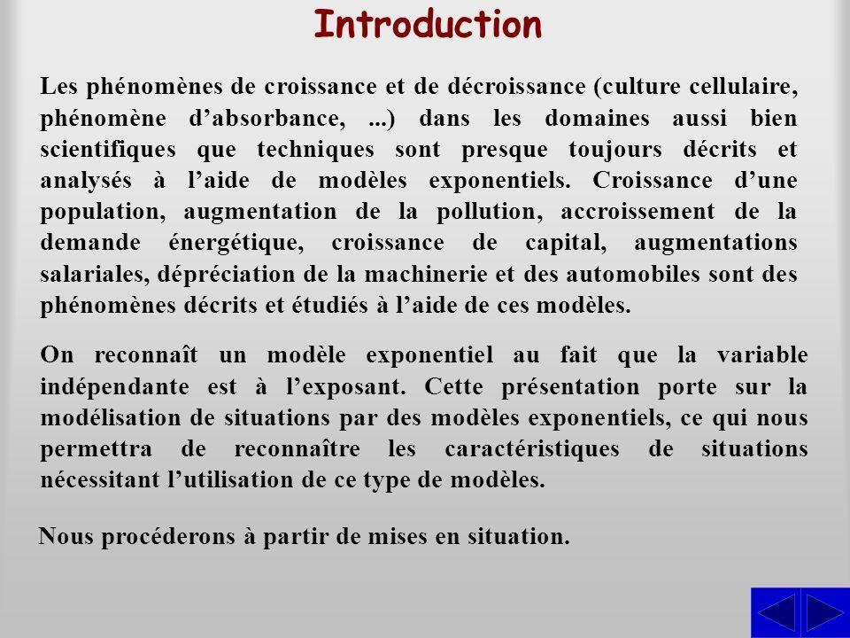 Introduction Les phénomènes de croissance et de décroissance (culture cellulaire, phénomène dabsorbance,...) dans les domaines aussi bien scientifique