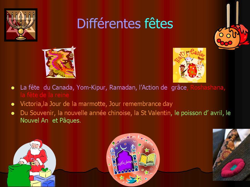 Différentes fêtes La fête du Canada, Yom-Kipur, Ramadan, lAction de grâce, Roshashana, la fête de la reine Victoria,la Jour de la marmotte, Jour remembrance day Du Souvenir, la nouvelle année chinoise, la St Valentin, le poisson d avril, le Nouvel An et Pâques.