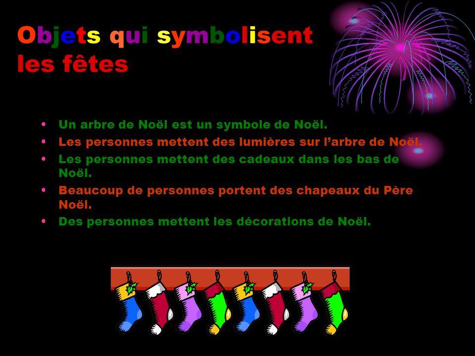 Objets qui symbolisent les fêtes Un arbre de Noël est un symbole de Noël.