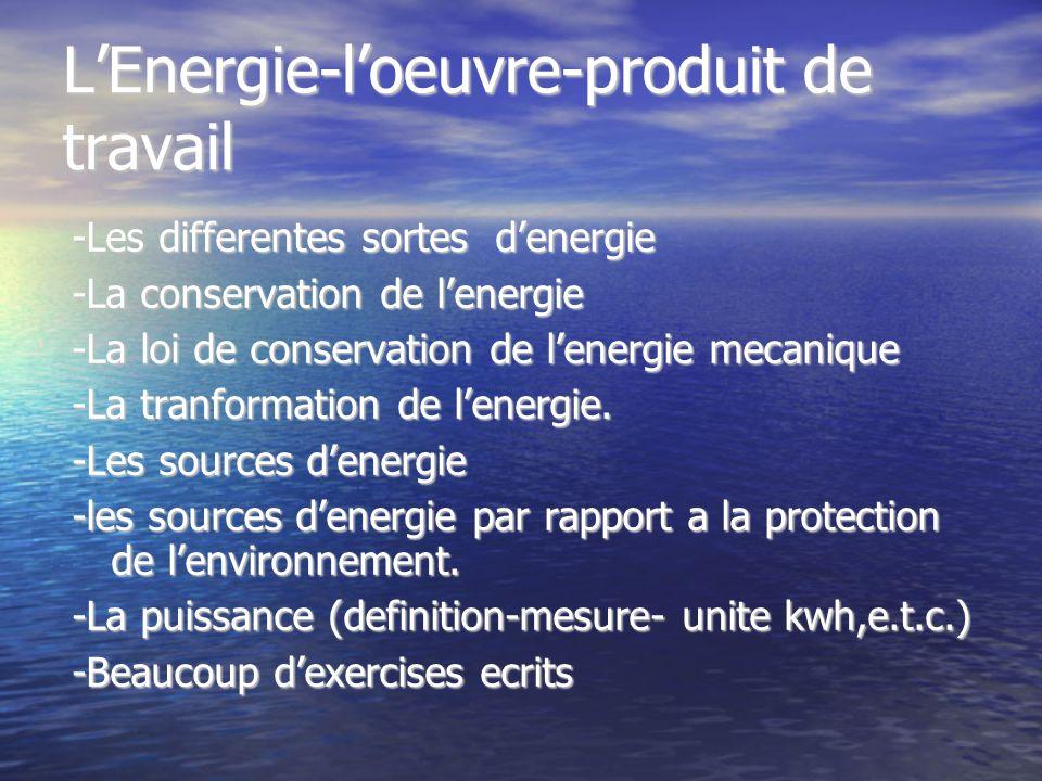 LEnergie-loeuvre-produit de travail -Les differentes sortes denergie -La conservation de lenergie -La loi de conservation de lenergie mecanique -La tr