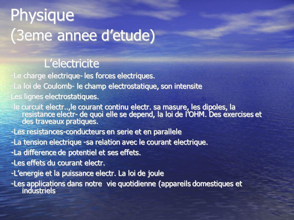 Physique ( 3eme annee detude) Lelectricite Lelectricite -Le charge electrique- les forces electriques. -La loi de Coulomb- le champ electrostatique, s