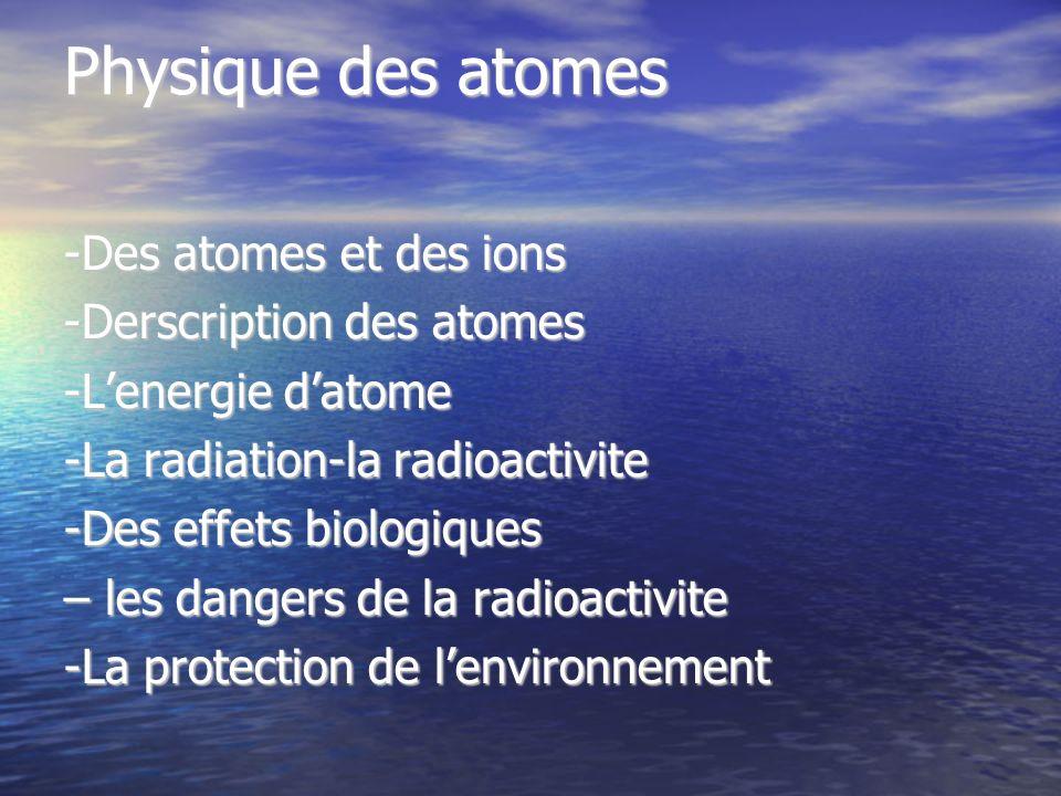 Physique des atomes -Des atomes et des ions -Derscription des atomes -Lenergie datome -La radiation-la radioactivite -Des effets biologiques – les dan