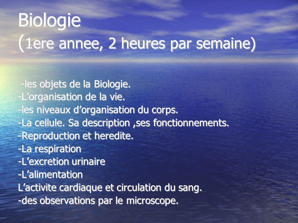 Biologie ( 1ere annee, 2 heures par semaine) -les objets de la Biologie. -les objets de la Biologie. -Lorganisation de la vie. -les niveaux dorganisat