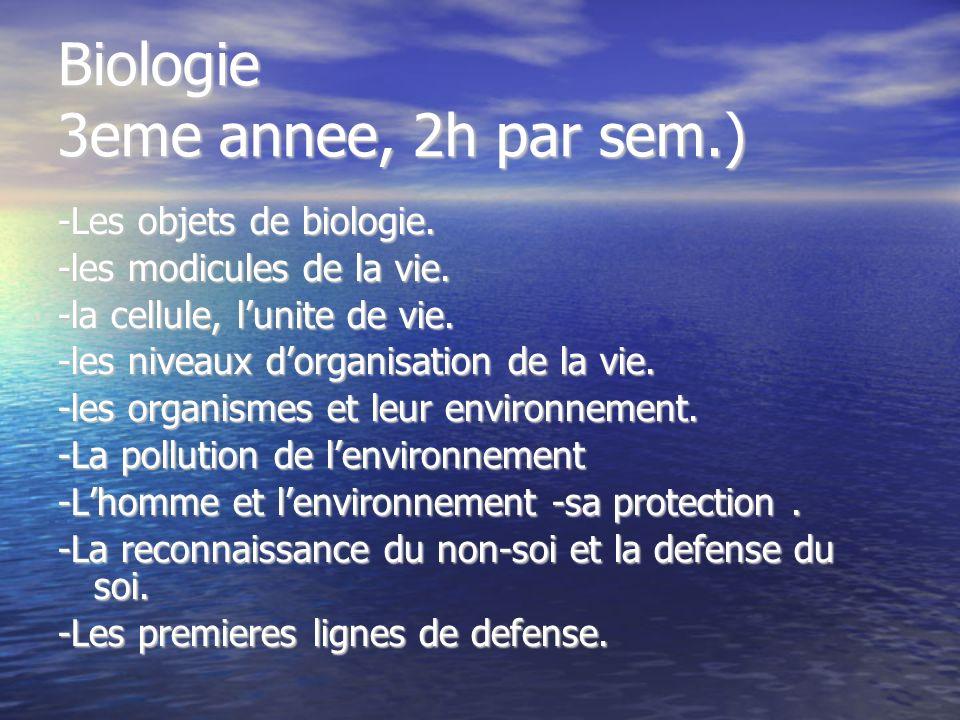 Biologie 3eme annee, 2h par sem.) -Les objets de biologie. -les modicules de la vie. -la cellule, lunite de vie. -les niveaux dorganisation de la vie.