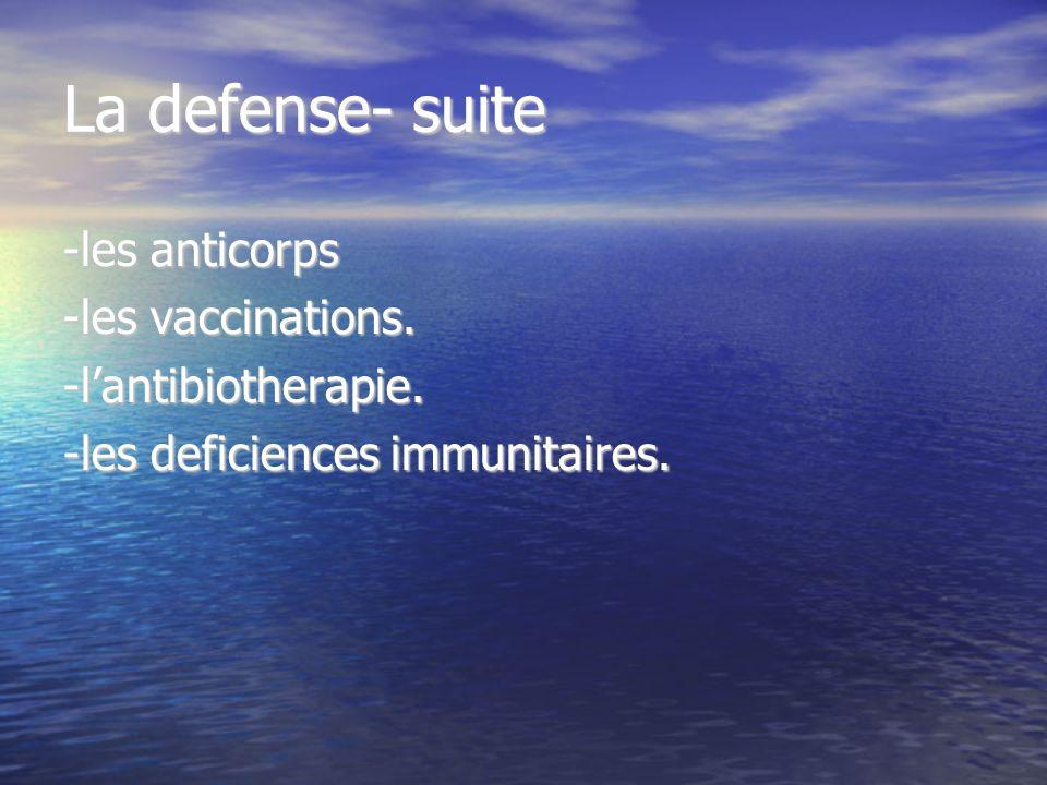 La defense- suite -les anticorps -les vaccinations. -lantibiotherapie. -les deficiences immunitaires.