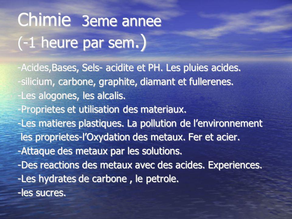 Chimie 3eme annee (-1 heure par sem.) -Acides,Bases, Sels- acidite et PH. Les pluies acides. -silicium, carbone, graphite, diamant et fullerenes. -Les