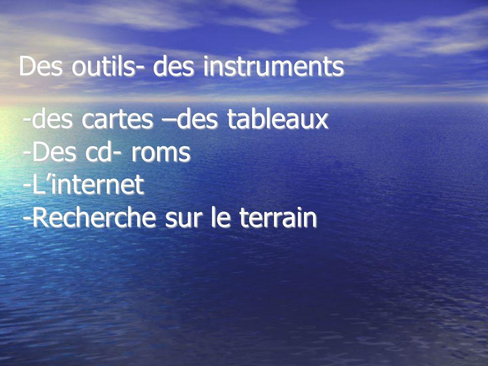 -des cartes –des tableaux -Des cd- roms -Linternet -Recherche sur le terrain Des outils- des instruments