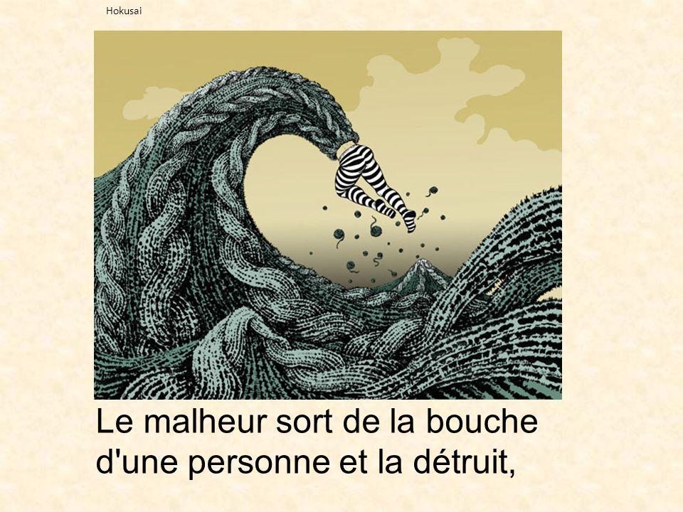 Le malheur sort de la bouche d'une personne et la détruit, Hokusai