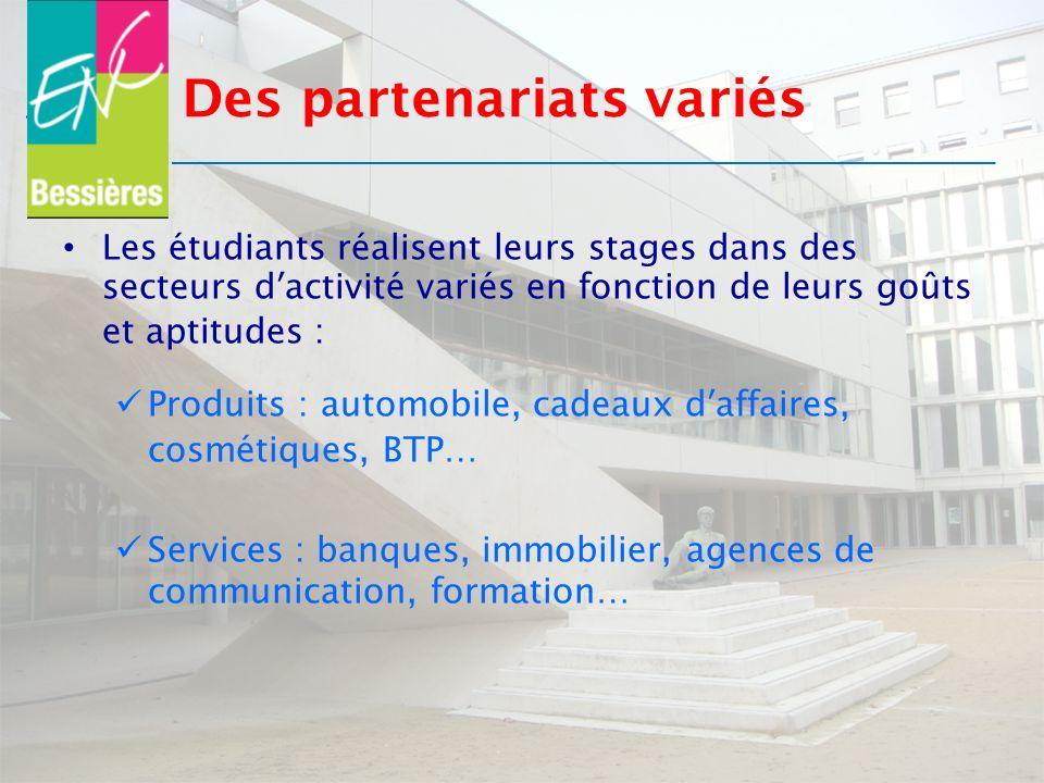 Des partenariats variés Les étudiants réalisent leurs stages dans des secteurs dactivité variés en fonction de leurs goûts et aptitudes : Produits : a
