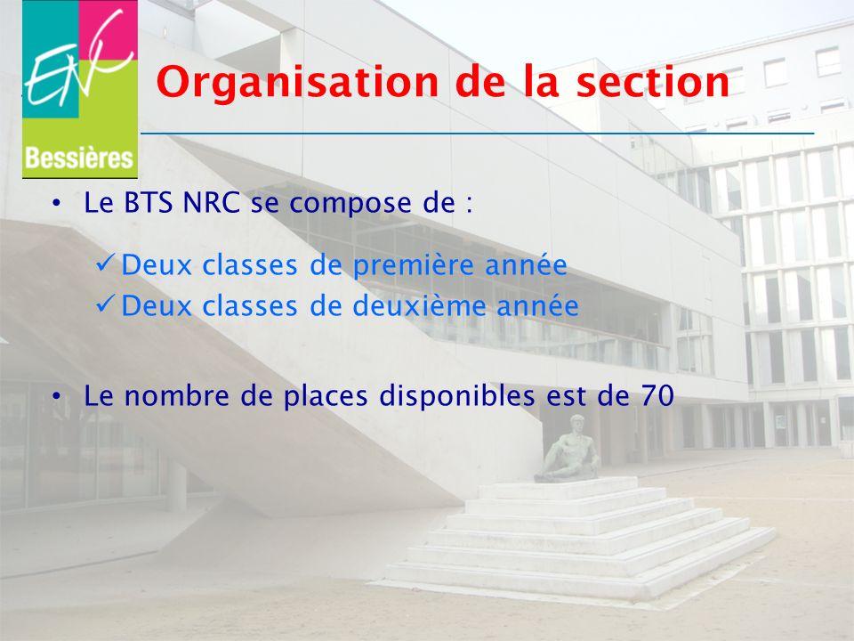 Organisation de la section Le BTS NRC se compose de : Deux classes de première année Deux classes de deuxième année Le nombre de places disponibles es