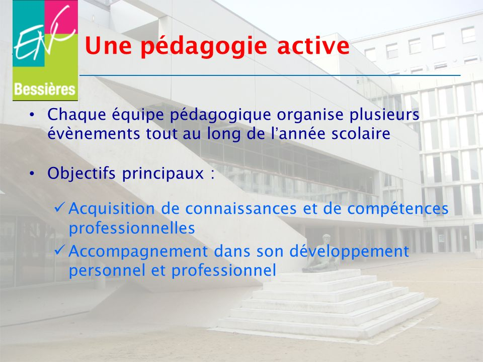 Une pédagogie active Chaque équipe pédagogique organise plusieurs évènements tout au long de lannée scolaire Objectifs principaux : Acquisition de con