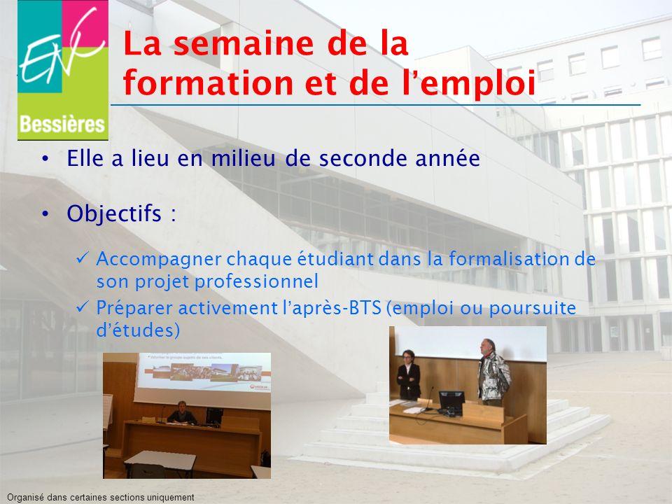 La semaine de la formation et de lemploi Elle a lieu en milieu de seconde année Objectifs : Accompagner chaque étudiant dans la formalisation de son p
