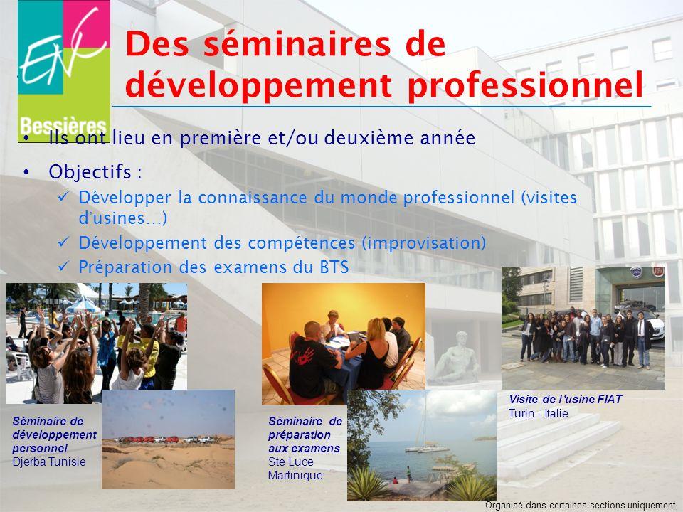 Ils ont lieu en première et/ou deuxième année Objectifs : Développer la connaissance du monde professionnel (visites dusines…) Développement des compé