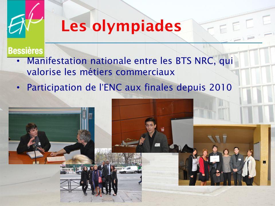 Les olympiades Manifestation nationale entre les BTS NRC, qui valorise les métiers commerciaux Participation de lENC aux finales depuis 2010