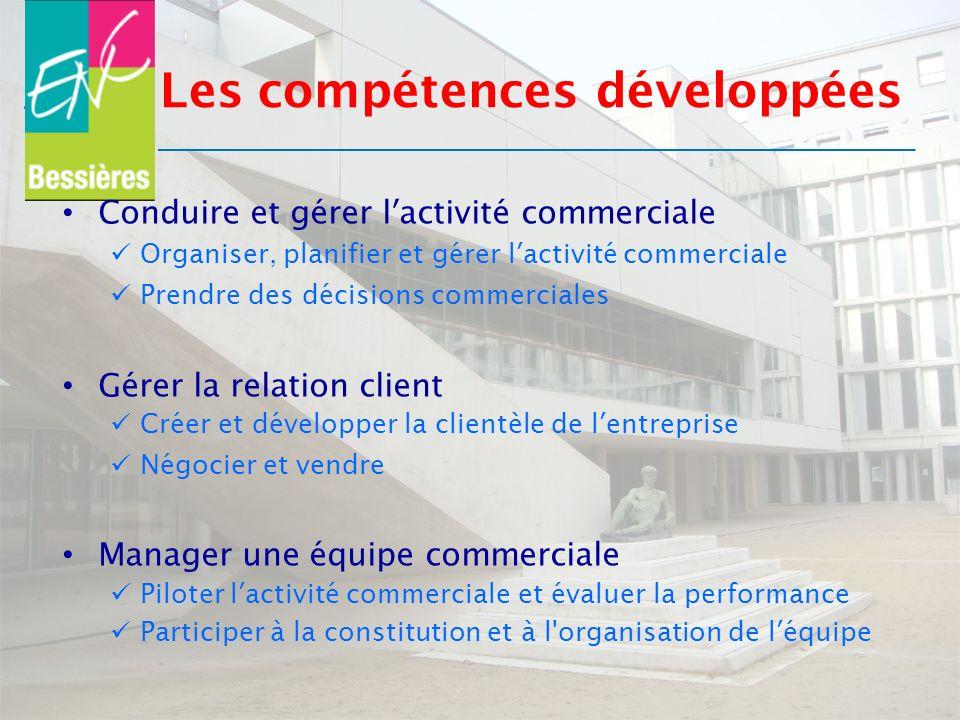 Les compétences développées Conduire et gérer lactivité commerciale Organiser, planifier et gérer lactivité commerciale Prendre des décisions commerci