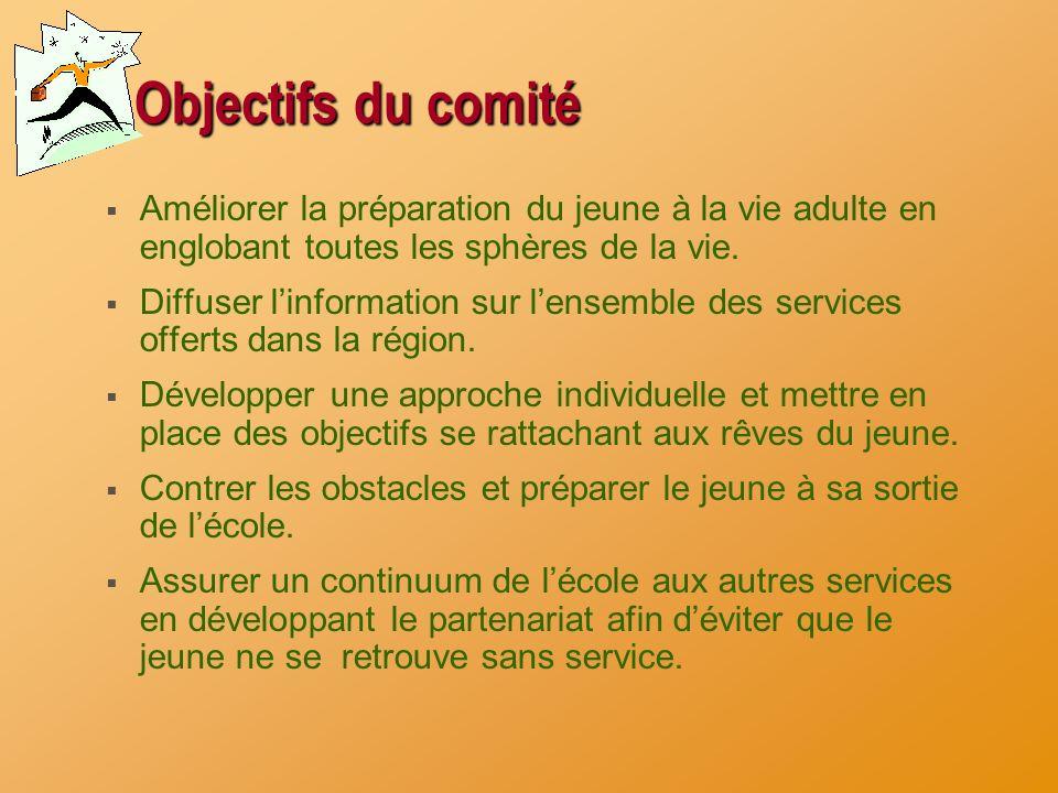 Objectifs du comité Améliorer la préparation du jeune à la vie adulte en englobant toutes les sphères de la vie.